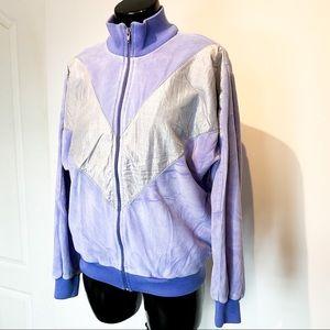 80s VINTAGE Lavender Velour Tracker Jacket